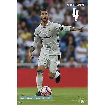 Real Madrid 2016-2017 Sergio Ramos acción cartel Poster Print