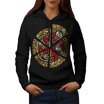 Pizza Slice Fast Mix Food Women BlackHoodie | Wellcoda