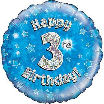 Oaktree 18 Inch Happy 3rd Birthday Holographic Balloon