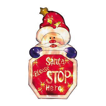 Christmas Shop Santa Please Stop Here Illuminated Window Sign