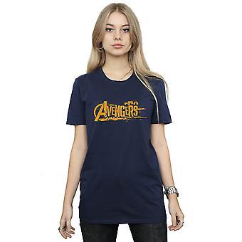 Marvel Women's Avengers Infinity War Orange Logo Boyfriend Fit T-Shirt
