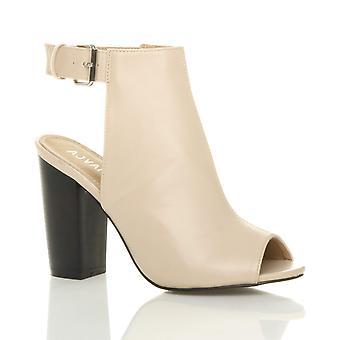 Ajvani kvinners blokkere høy hæl peep toe ankelen stroppen spennen åpne tilbake kutte ut ankel boots sko