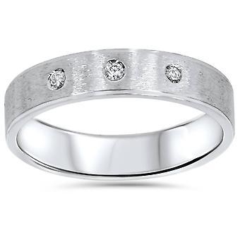 Mens White Gold Brushed Diamond Wedding Ring Band