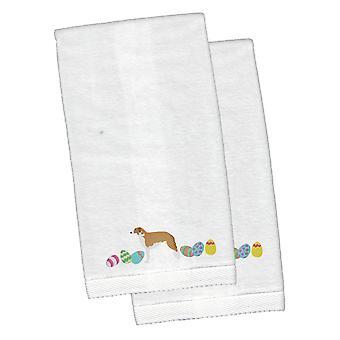Borzoi Easter White Embroidered Plush Hand Towel Set of 2