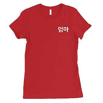 Mor koreanske bokstaver Womens Red bomull skjorte unike Morsdag gave