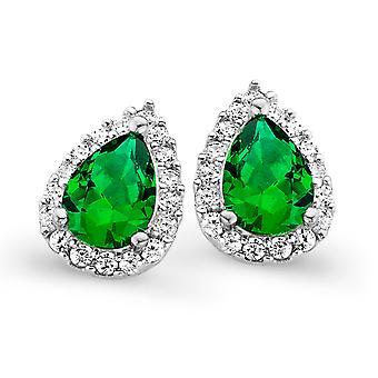 Orphelia Silver 925 Earring Drop smaragd kleur zirkonium ZO-7226/EM