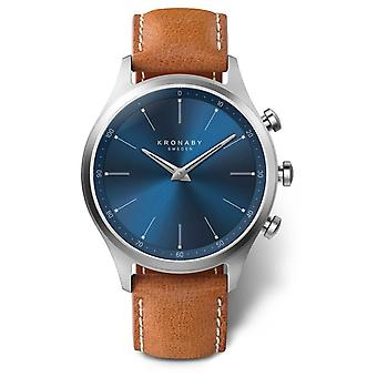 Kronaby 41mm SEKEL Blue Dial Brown Leather Strap A1000-3124 S3124/1 Watch