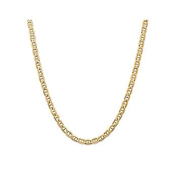14K Yellow Gold Concave 6.25mm Necklace Anchor Chain 24 Inches