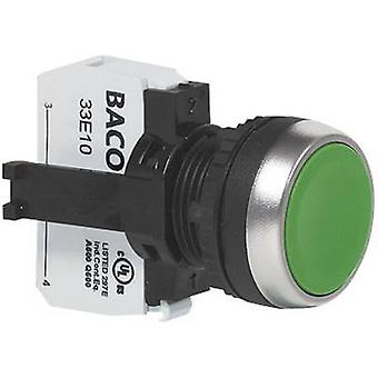 BACO L21AA82B Pushbutton Front ring (PVC), chrome-plated Green 1 pc(s)