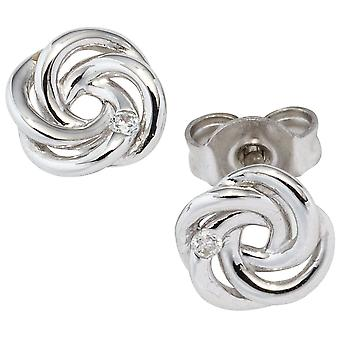 Knoten Ohrstecker verschlungen 585 Gold Weißgold 2 Diamanten Brillanten Ohrringe