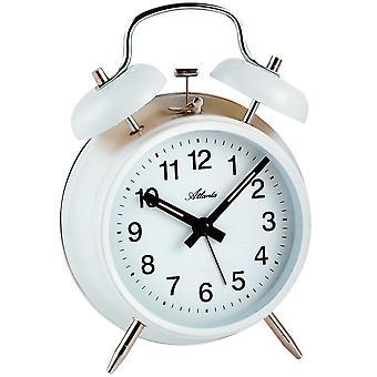 Atlanta 1053/0 af mekanisk alarm klokke vækkeur twin Bell vækkeur hvid