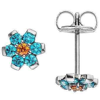 Örhängen blomma gjord av rostfritt stål med kristall element ljus blå blå örhängen