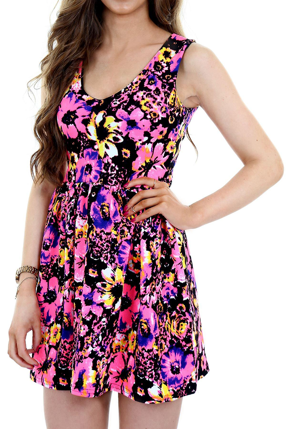 Ladies Sleeveless V Neck Skater Flare Neon Floral Short Women's Party Dress