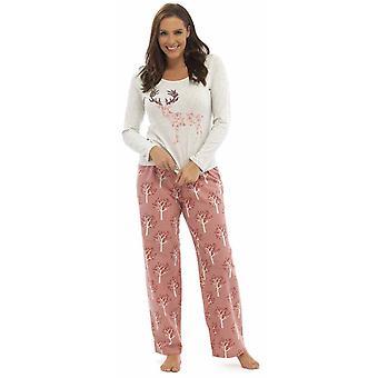 Ladies Foxbury trykt Jersey topp Long Pyjama sett pyjamas Sleepwear