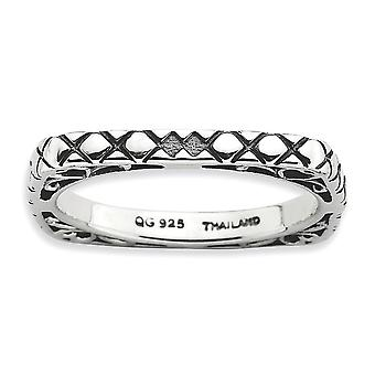 2.25mm 925 Sterling Argento modello stackable Espressioni lucidate pixelati anello gioielli per le donne - Anello Si