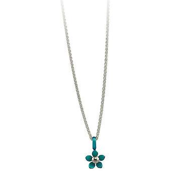Ti2 Titanium kleine fünf Blütenblatt Blume Anhänger - Kingfisher blau