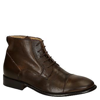 Robe de cheval brun foncé en cuir plain cap toe hommes bottes