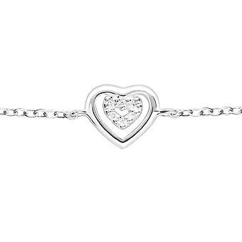 Coração - pulseiras de corrente prata esterlina 925 - W18624x