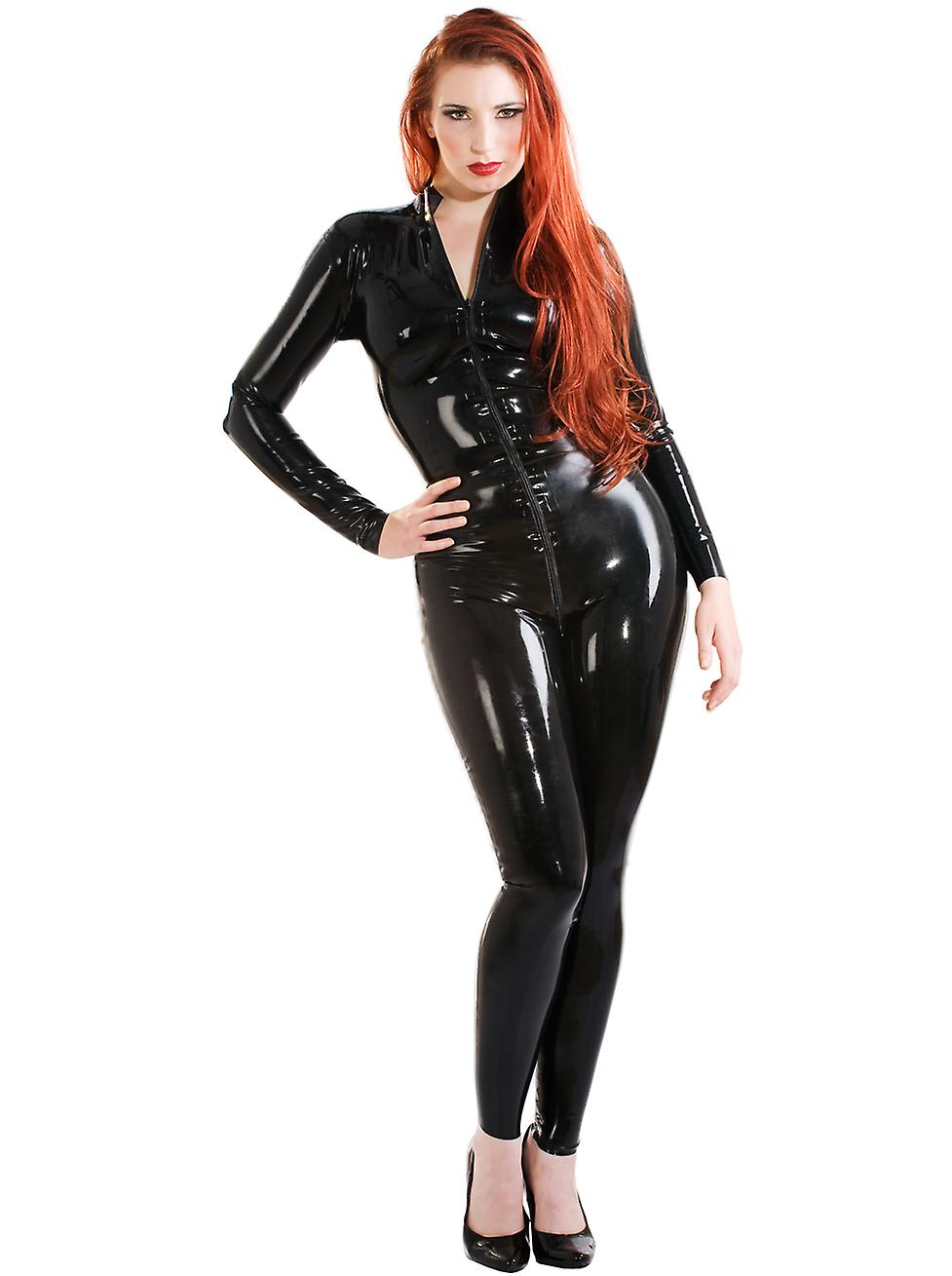 Skin Two Clothing Women's Kinky Catsuit Costume Outfit Latex Rubber Front Zip