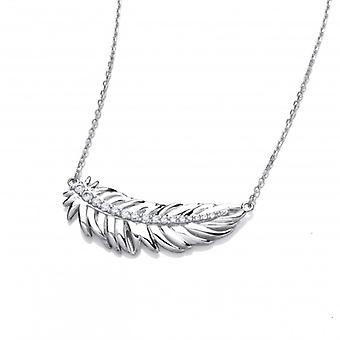 Cavendish Ranskan hopea ja kuutio Zirconia Feather Spirit kaulakoru
