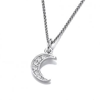 Cavendish French Silver and CZ Crescent Moon Pendant without Chain