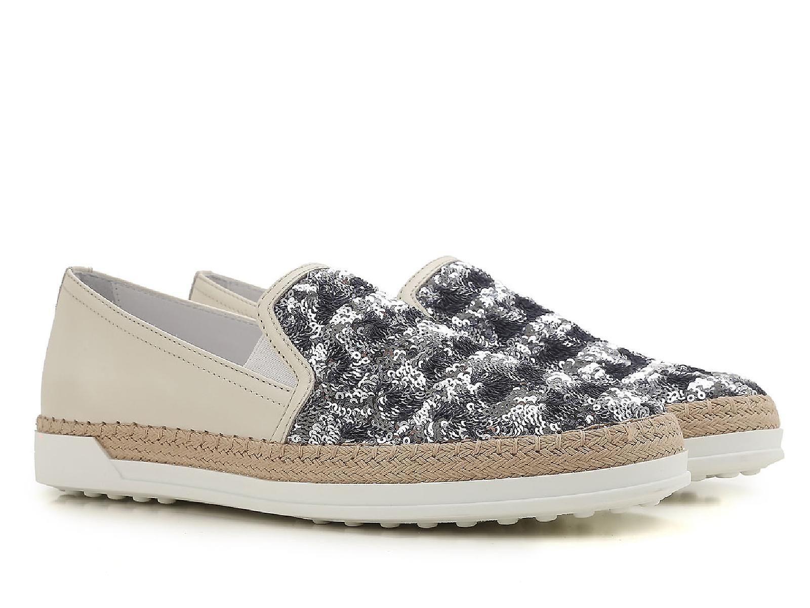 Tod's Xxw0tv0j970g450zs0 Women's Beige/blue Sequins Slip On Sneakers