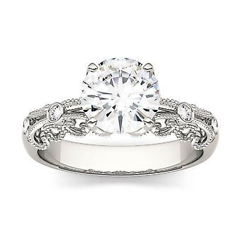 14K White Gold Moissanite by Charles & Colvard 7.5mm Round Fashion Ring, 1.54cttw DEW