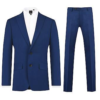 Dobell Mens lys blå 2 stykke Dress Slim Fit topp jakkeslaget
