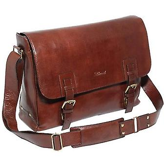 Ashwood Leather Chelsea Veg Tan Jasper Double Clasp Laptop Satchel - Chestnut