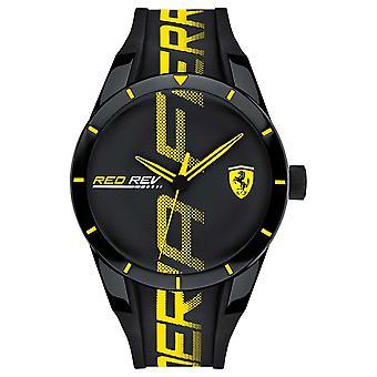 Scuderia Ferrari | Mens Redrev | Black Rubber Strap | Black Dial | 0830615 Watch