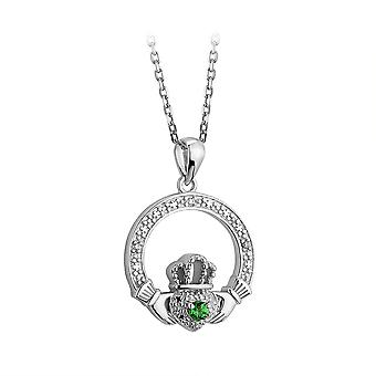 Sterling Silver Crystal Claddagh Necklace