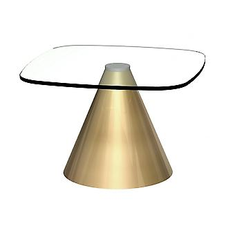 Gillmore Square Clear Glass Side Table With Conical Brass Base