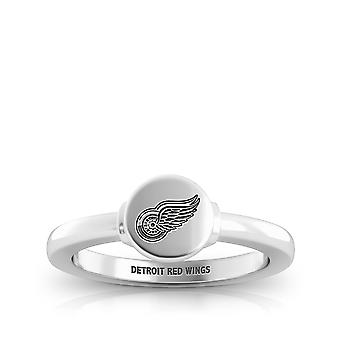 Detroit Redwings Engraved Sterling Silver Signet Ring