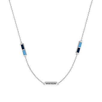 University Of Rhode Island Sterling Silver Engraved Triple Station Necklace In Blue & Sky Blue