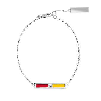 University Of Maryland Sterling Silver Diamond Bar Chain Bracelet In Red and Yellow