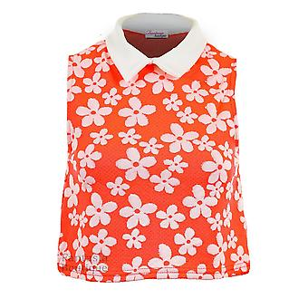 Ladies Sleeveless Floral Print Peter Pan Collar Illuminous Colour Women's Crop Top