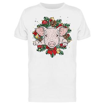 Pig In A New Year Wreath Tee Men's -Image by Shutterstock