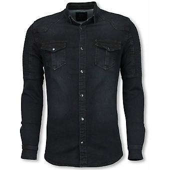 Biker Denim Shirt-Slim Fit Ribbel Schoulder-Black