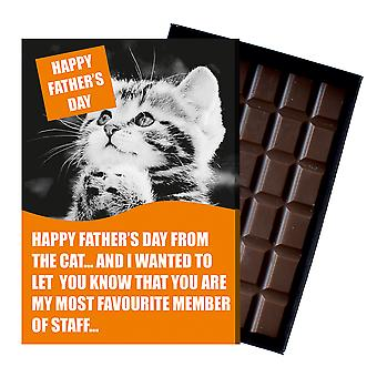 Funny Fathers Day Gift For Cat Lover Dad Daddy boxed Chocolate Greeting Card Present CDL215