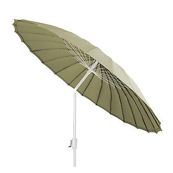 Beach7 | Shanghai parasol rond Spunacrylic doek |  Wit/Olive | parasols