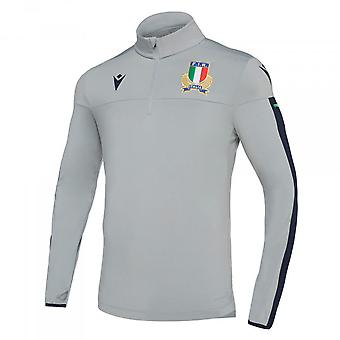 2019-2020 Italy Macron Rugby Quarter Zip Training Top (Grey)