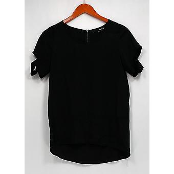 RO & DE Top Short Sleeve Cold Shoulder w/ Back Zipper Black