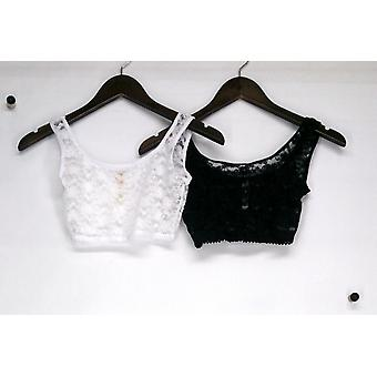 Rhonda Shear 2-Piece Lace Layering Camisole Tops Black / White  309-415