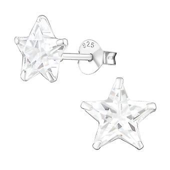 Stern - 925 Sterling Silber klassische Ohrstecker - W1016X