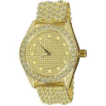 High Quality FULL ICED OUT CZ Uhr - gold / gold