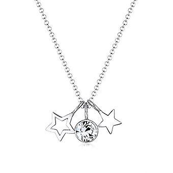 Elli halsband med silver dam hänge med vit kristall-45 cm