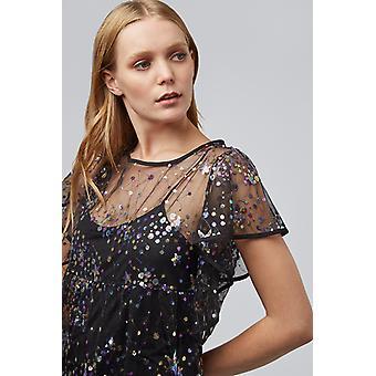 Louche Aureline Sequin Star Mesh Dress Black