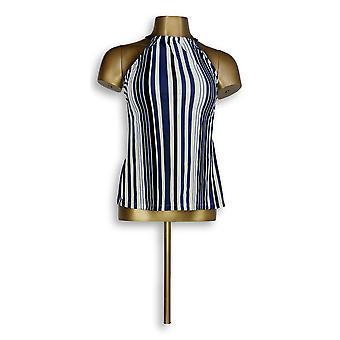 Isaac Mizrahi Live! Striped Halterkini Top with Blue A303689