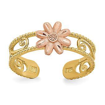 14k dos tonos satén filigrana sparkle corte de oro flor de toe anillo joyería regalos para las mujeres - .8 gramos