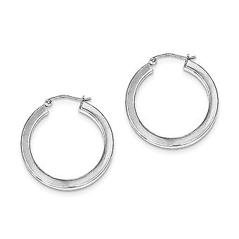 925 Sterling Silver Hollow lucidato Hinged post Hoop 3.25mm Orecchini - 3.2 Grammi